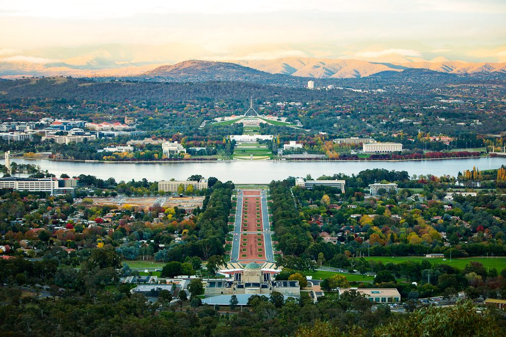 Canberra's money shot, Mount Ainslie overlooking the parliamentary triangle.