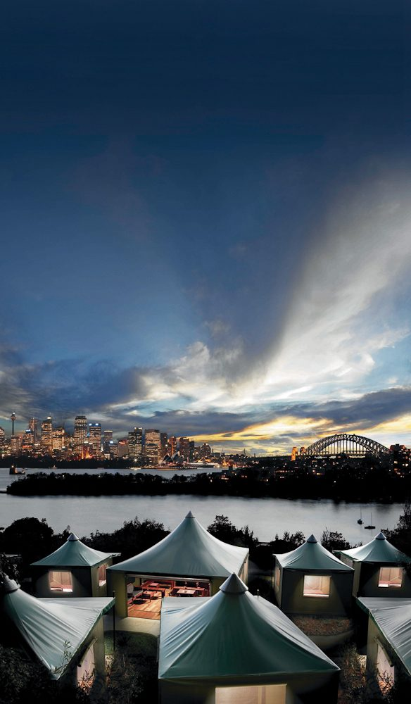 Zoo with a view: Taronga's safari tents looking straight across Sydney Harbour.