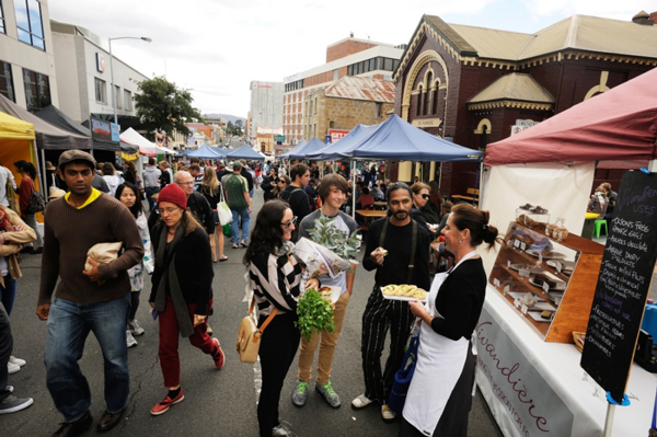 Farmgate Market in Hobart, Tasmania.