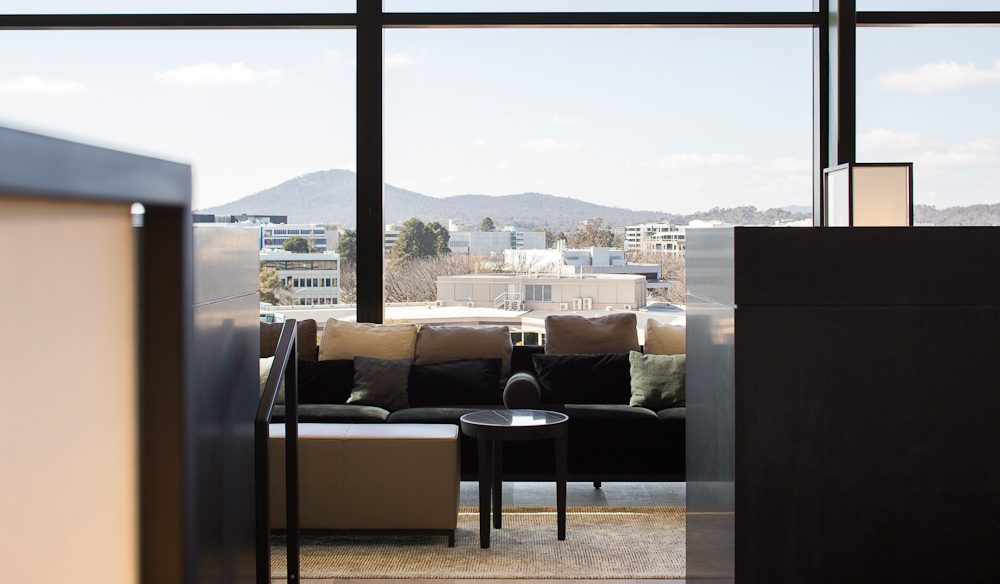 With views of the city, the lounge is the perfect reading spot.