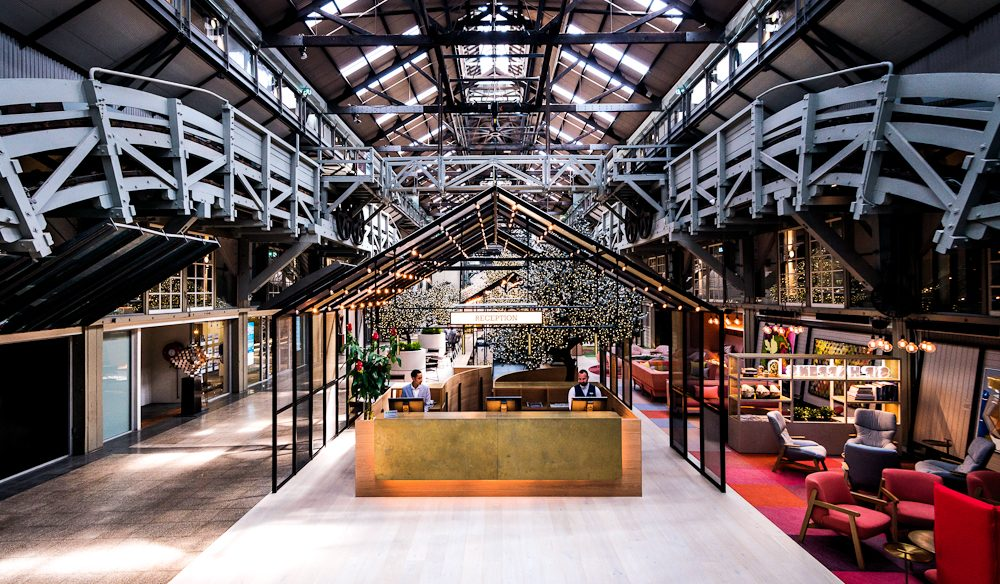 The expansive reception of Ovolo and the grand interior of the Finger Wharf
