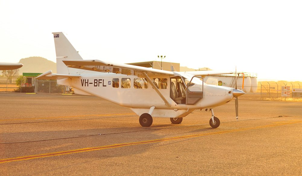 The light aircraft sits ready at Kununurra Airport (photo: Yasmin Newman).