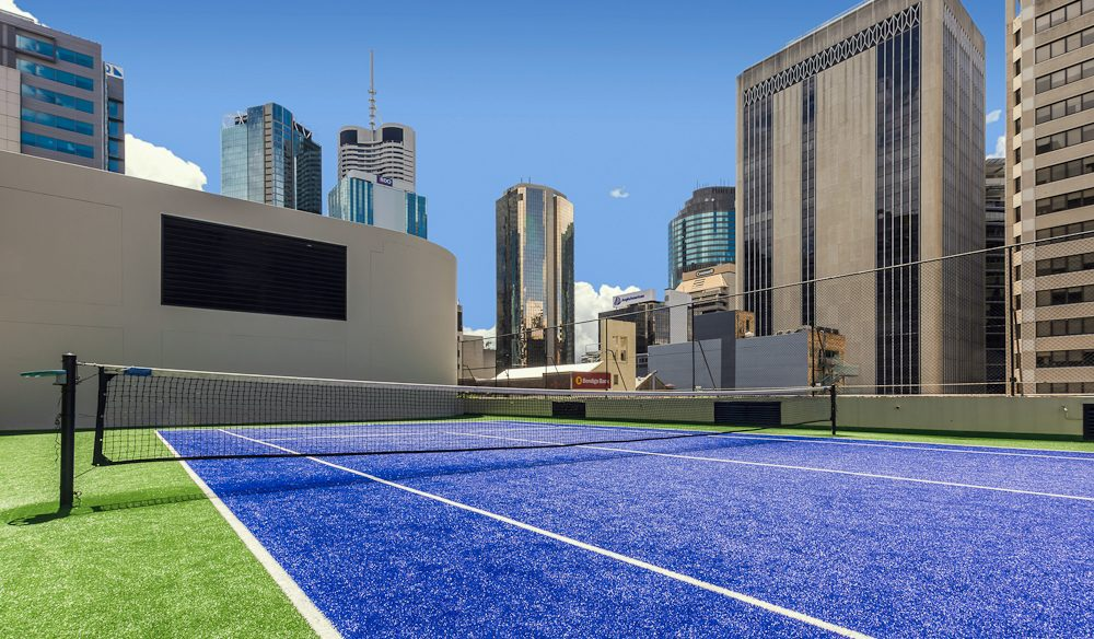 Brisbane CBD's only rooftop tennis court is at the Hilton.
