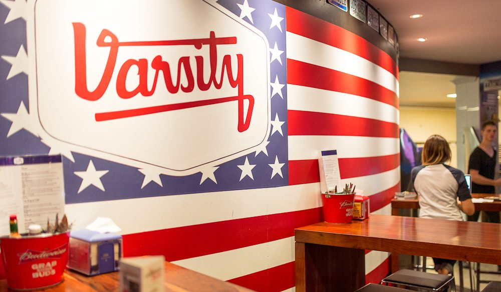 The Frat-themed Varsity Bar.