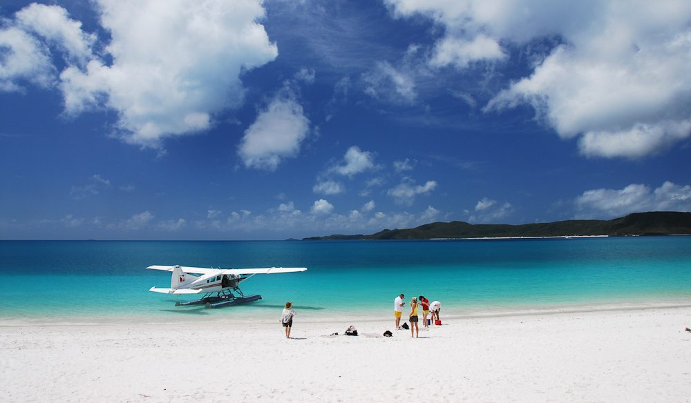 Air Whitsunday's seaplanes will make a landing off Whitehaven Beach so you can go for a wander