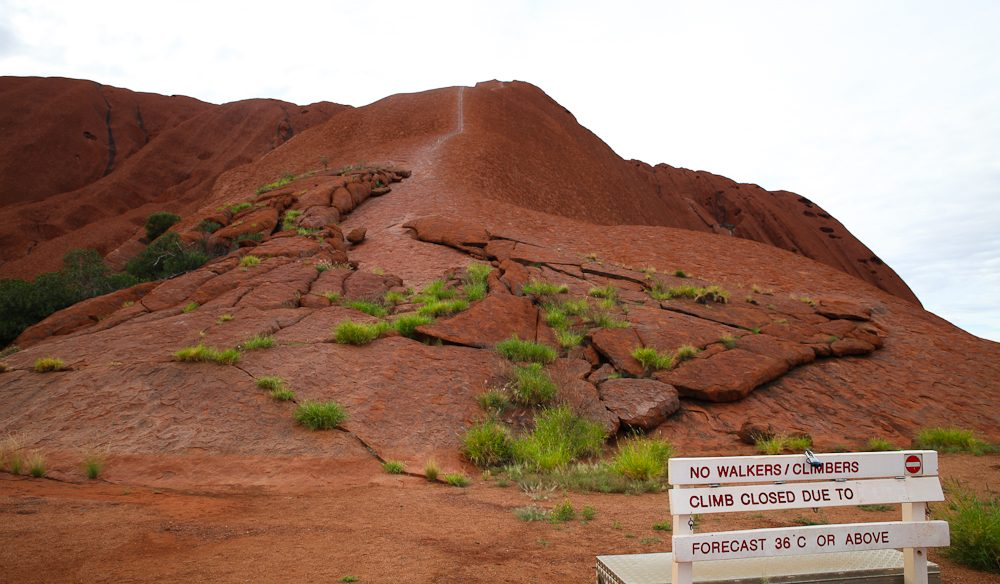 The 'Scar of Uluru' - the climbing route is still technically open, but traditional owners request that you don't climb (photo: Steve Madgwick).