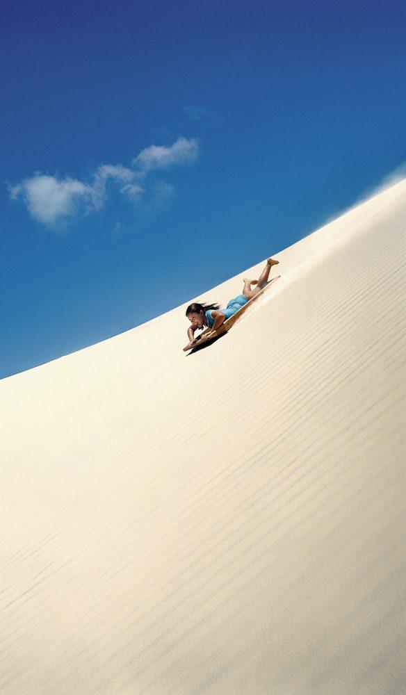Sand boarding, sand dunes Moreton Islands