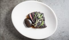 Rangers Valley wagyu skirt with charred eggplant puree at Gerard's.
