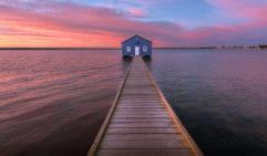 Beautiful sunrise at Matilda bay boat shed, Perth