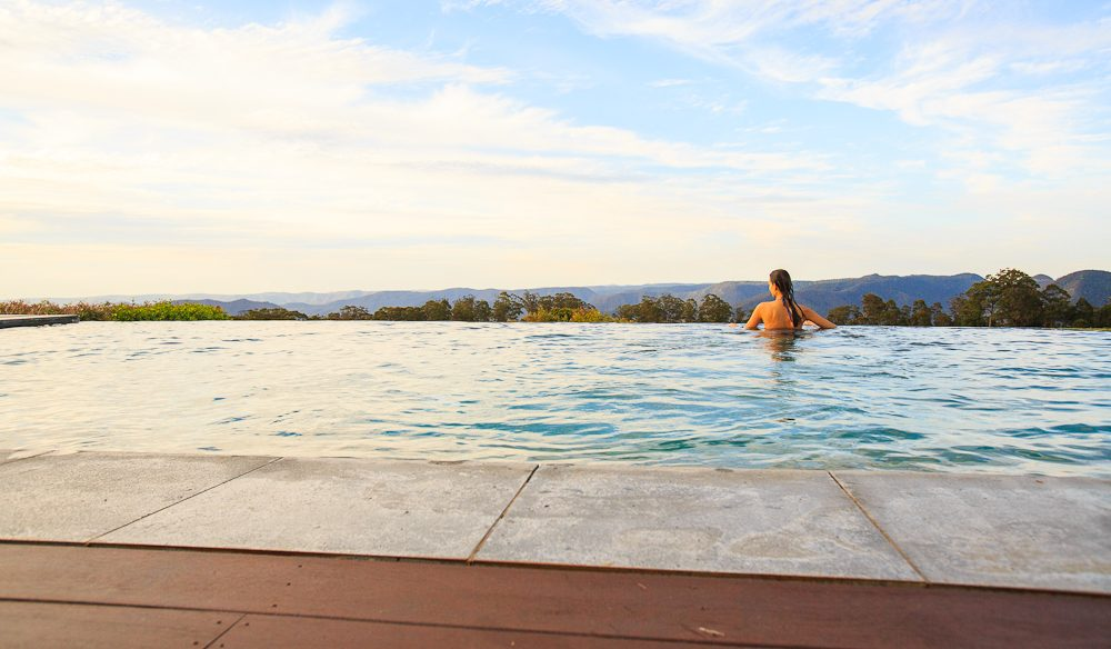 A dip in Spicers Peak Lodge pool for a touch of rarefied fresh air close to Brisbane.