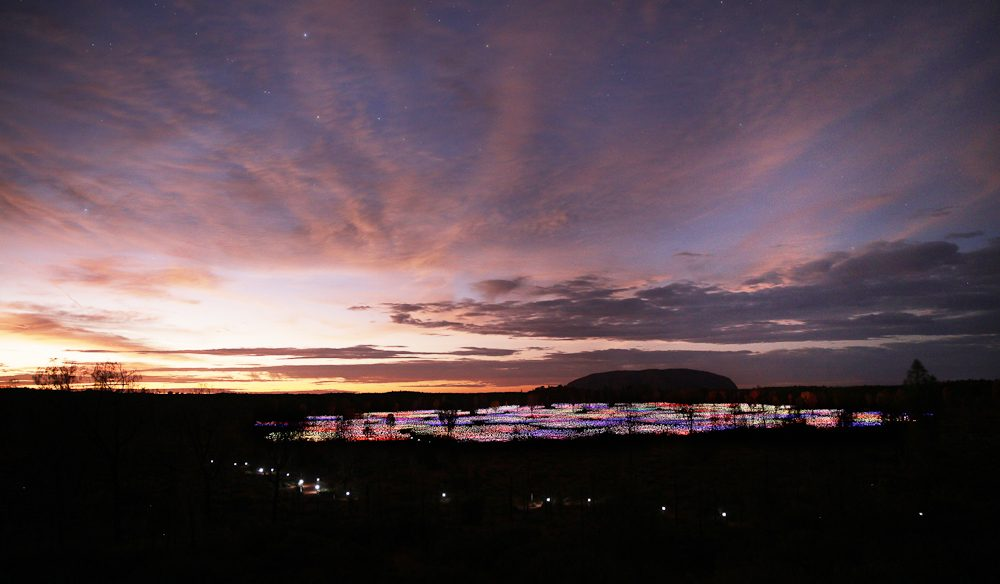 The Field of Light brings Uluru to life as it changes hues throughout the night (photo: Mark Pickthall).