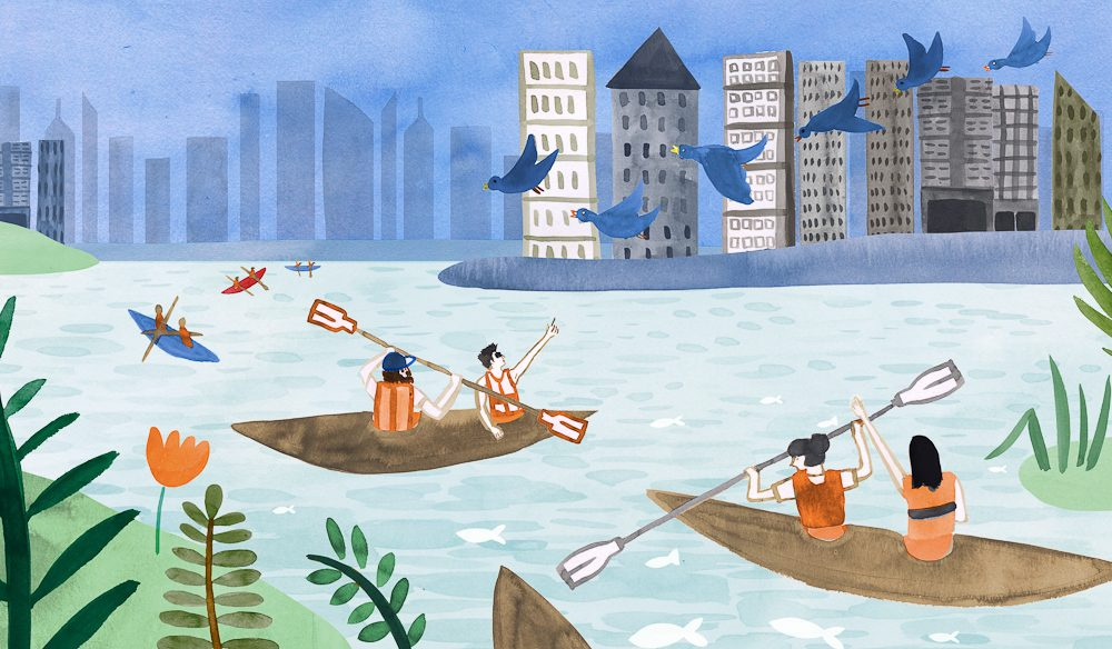 Kayaking is a calmer way to get to know a city (illustration by Livi Gosling).