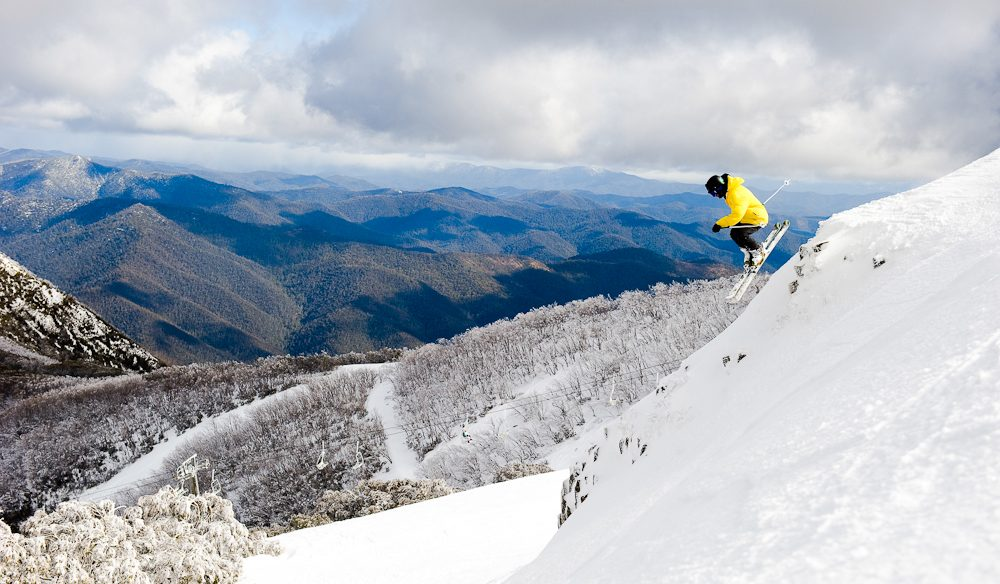Skiing off snow's edge Mt Buller