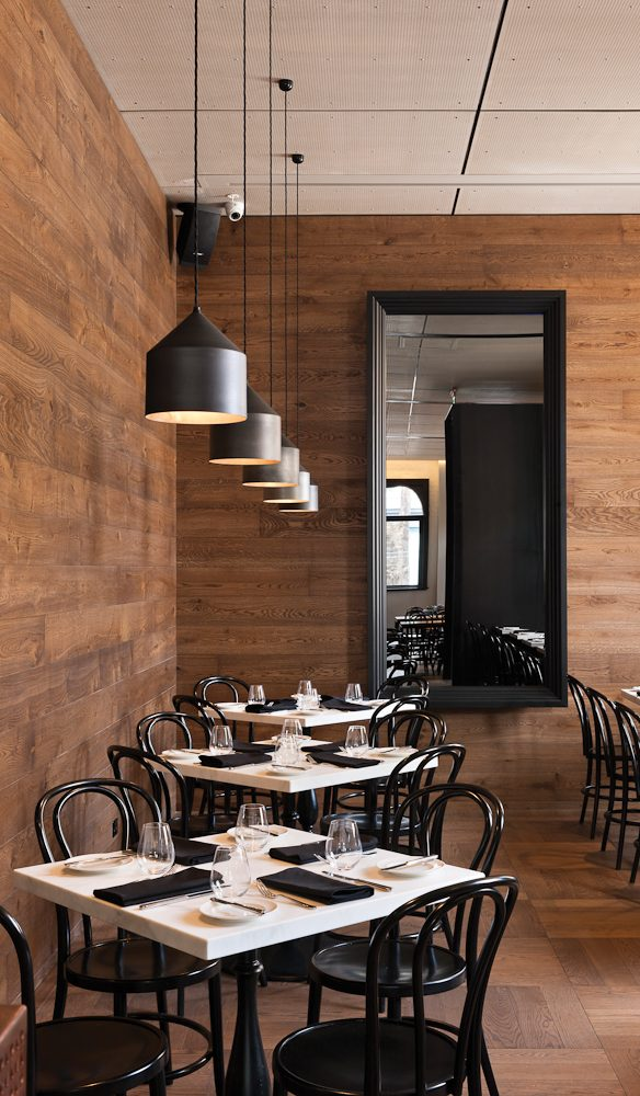 A sophisticated restaurant sits at the back of Coppersmith.