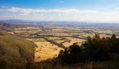 Murmungee Lookout near Beechworth looking towards Mount Buffalo in Victoria, Australia