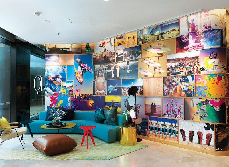 QT Bondi's colourful lobby.