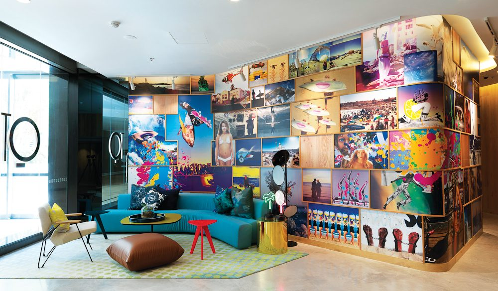 QT Bondi's colourful lobby.