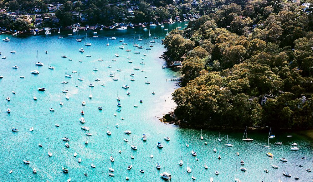 Pittwater looks magical from the air (photo: Elise Hassey).