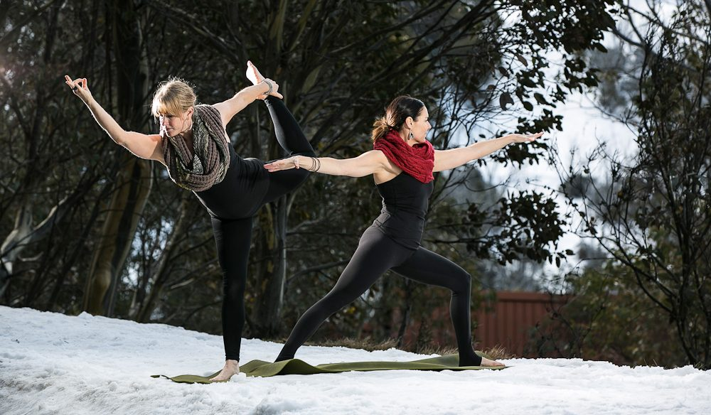 Yoga pose in the snow