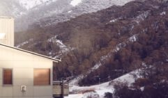 The snow starts to fall over Thredbo.