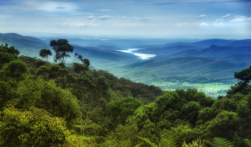 Views over Lamington National Park to Hinze Dam in Queensland's Gold Coast hinterland