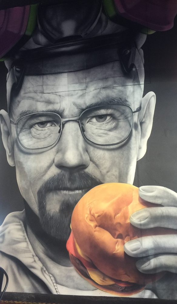 Burgers are good, the decor breaking bad at Burgers Anonymous.