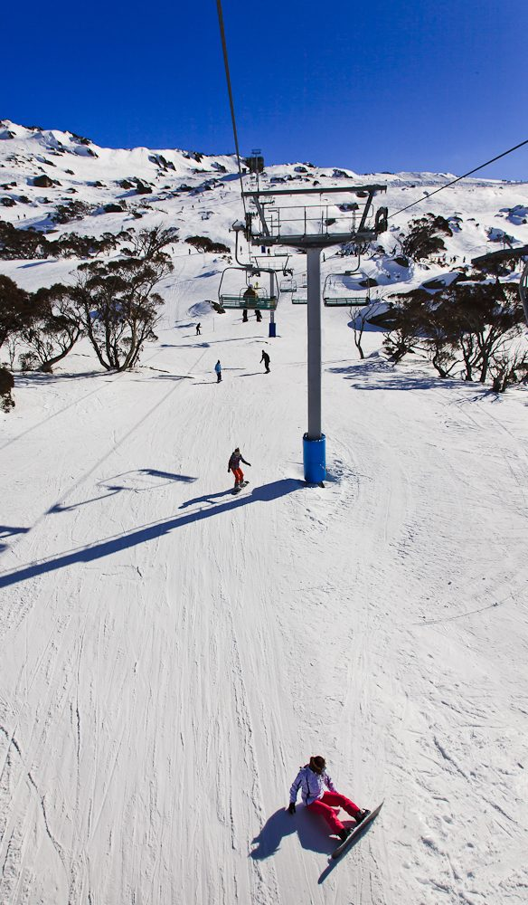 Boarders take on one of Perisher's runs and a perfect day.