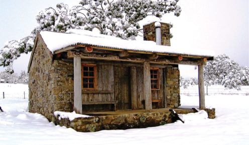 Rustic yet classically appointed Moonbah Hut, near Jindabyne.