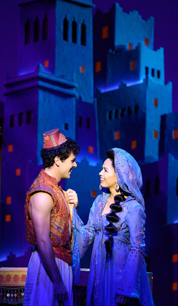 Aladdin (Ainsley Melham) and Jasmine (Arielle Jacobs) together (photo: Deen van Meer).