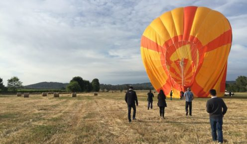 A balloon landing in the Yarra Valley  (photo: Lara Down).
