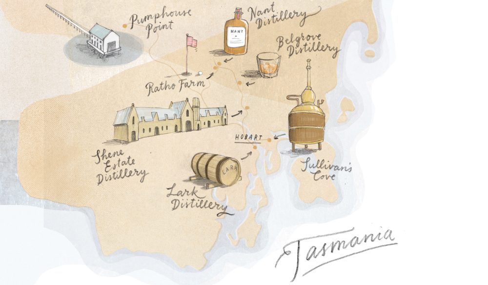 A map of the whisky trail in Tasmania (illustration: Mike Rossi).