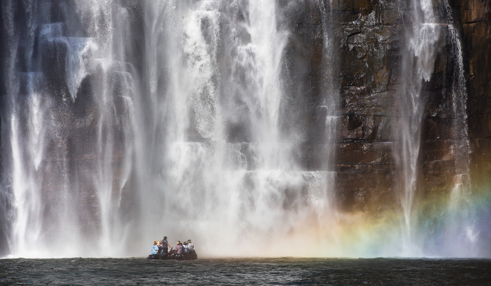 You can be here: Underneath King George Falls in the Kimberley.