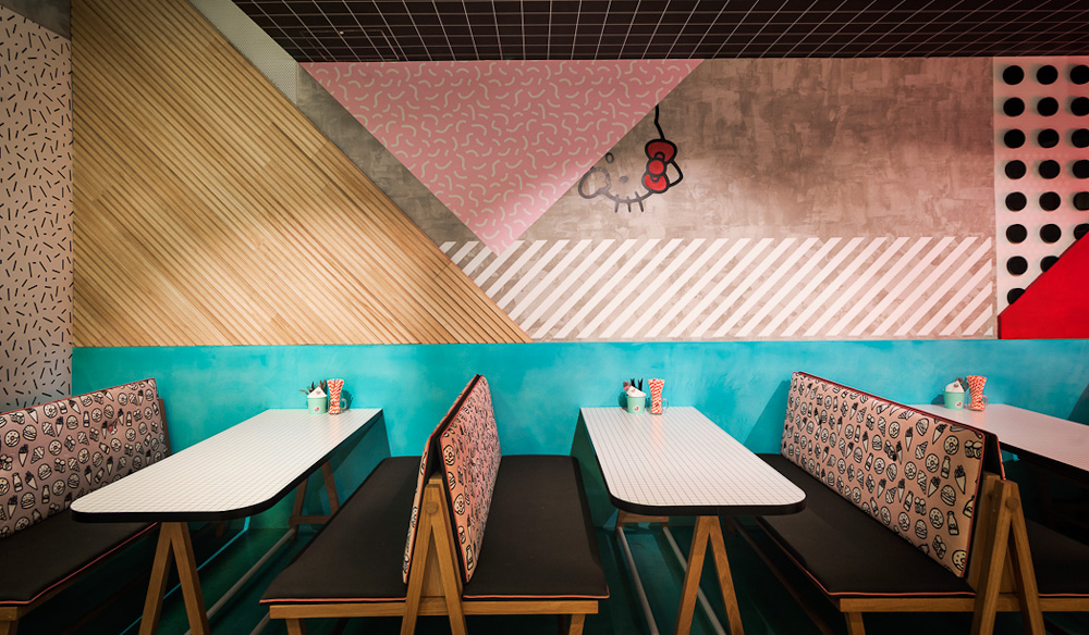 Enjoy a burger in a bold booth at Hello Kitty, Chatswood (photo: Michael Wee).