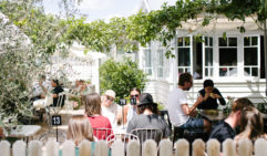 The beautiful garden cafe of Paddock Bakery.