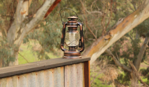 A lamp to help you find your way at Arkaba Station's first camp – it gets pitch black here (photo: Lara Picone).