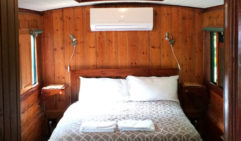 Sleeper: Glass House Eco Lodge's Victorian train carriage.