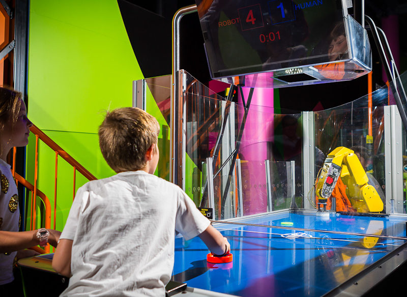 Questacon one of the only places you can try to beat a robot playing air hockey