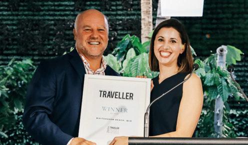 Steve McRoberts (TEQ) and Lara Picone (Australian Traveller, editor).