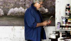 Artist Allan Wolf-Tasker at work in his studio at Lake House Daylesford (photo: Sharyn Cairns).