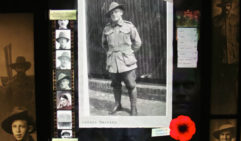 Photo of Australian soldier, Archie Barwick displayed at the National ANZAC Centre in Albany Heritage Park. He survived the war and went on to live a full life in NSW (photo: Fleur Bainger).