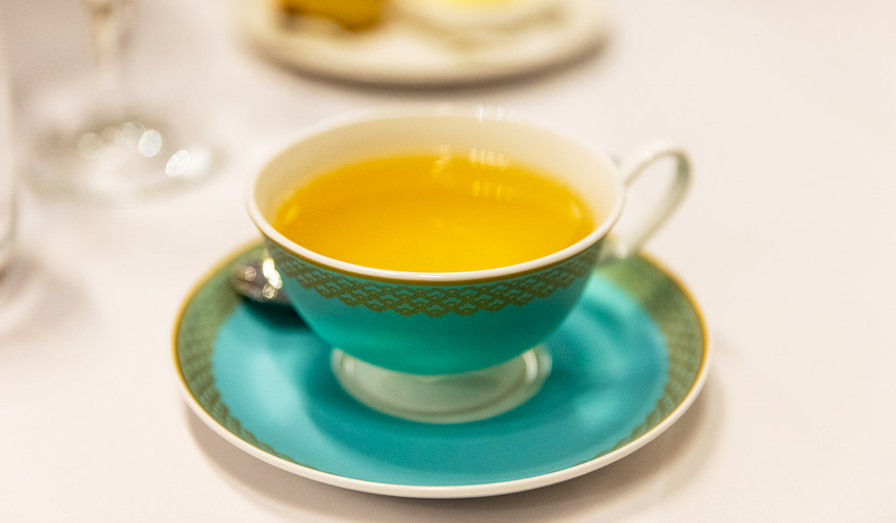 Tea served in a delicate turquoise teacup atthe InterContinental Melbourne The Rialto.