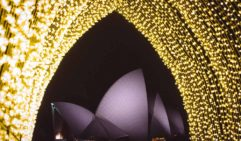See the Opera House in a new light at Vivid Sydney, framed by the twinkling Cathedral of Light.