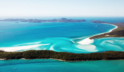 Swirling white sands of Hill Inlet at Whitehaven Beach, QLD.