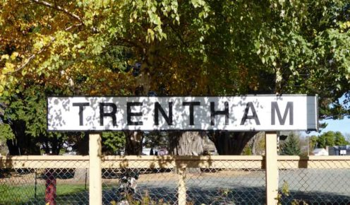 Trentham's old railway sign (photo: Margaret Barca).