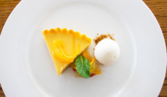 A delicious citrus pie dessert served at lunch on Lizard Island (photo: Megan Arkinstall).