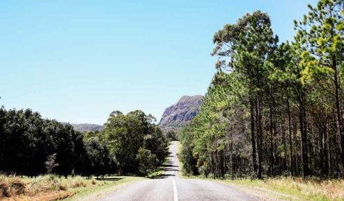 Mt Tibrogargan dominates the skyline on the highway into the Glass House Mountains (photo: Elise Hassey).