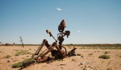 Rusty humanoid art installation piece from Mutonia Sculpture Park, along the Oodnadatta track, South Australia (photo: Jonathan Cami).