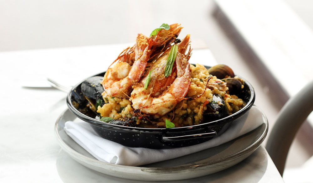 The Reverly's spiced seafood paella
