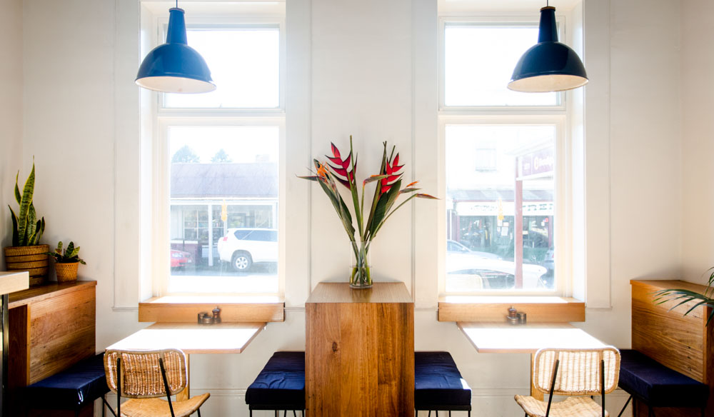 Airy dining space of The Trentham Collective cafe