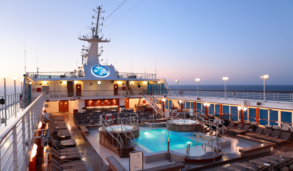 The pool area on board an Azamara cruise